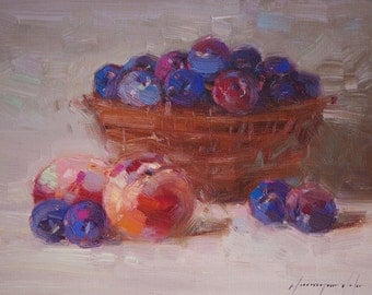 Still life oil Painting, One of a kind, Handmade Artwork, Impressionism, Signed with Certificate of Authenticity