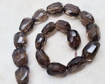 Smoky Quartz Nugget Shape Faceted Beads