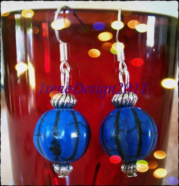 Handmade Silver Hook Earrings with Blue Pumpkins for Halloween by IreneDesign2011