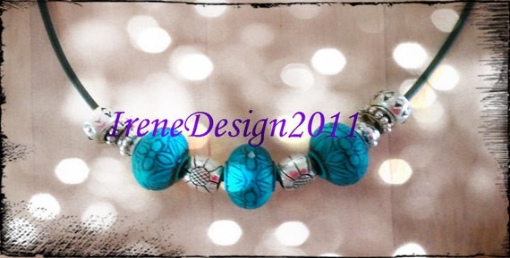 Handmade Leather Necklace with Blue Beads & Silver by IreneDesign2011
