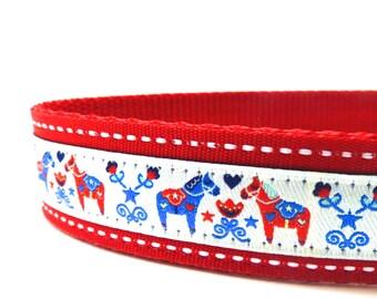 Dala Horses on Red  Dog Collar/ ribbon dog collar/ adjustable dog collar