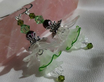 Green and White Fairy Flower Earrings