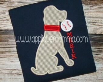 Personalized Baseball Softball Dog Applique Shirt or Onesie Girl or Boy