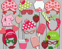 Vintage Strawberry Shortcake Party Photo Booth Props, Old School Strawberry Party Photo Props, Picnic Party