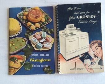 2 Vintage 1947, 1950 Electric Range Cookbooks