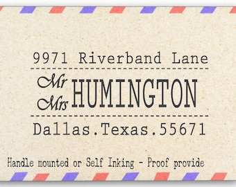 Custom Personalized Return Address Mounted Rubber Stamp - Mr & Mrs stamp - AW25