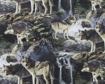Pine Ridge Scenic Wolves Niche Fabric From Springs Creative By the Yard