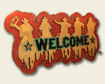 Western Welcome Sign  Western Decor Cowboy Decor Cowboy Coat Rack Western Hat Rack Cowboy Hat Rack Cowboy Welcome Sign Rustic Welcome Sign