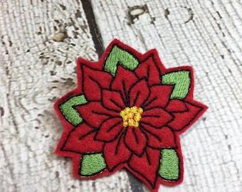 """2"""" Poinsettia Feltie/Clippie Design - 4 x 4 and 5 x 7 DIGITAL Embroidery DESIGN"""