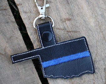 Thin Blue Line OKLAHOMA - POLICE - In The Hoop - Snap/Rivet Key Fob - DIGITAL Embroidery Design