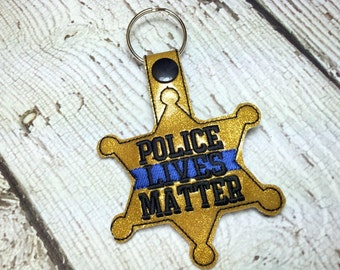 6 Point Star Badge- Police Lives Matter - POLICE - Sheriff - Deputy - Snap/Rivet Key Fob - DIGITAL Embroidery Design