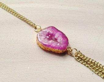 Fuchsia Pink Geode Tassel Necklace//Gold Tassel Necklace