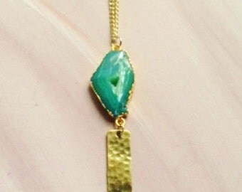Green Geode Pendant Necklace//Green Agate Pendant Necklace