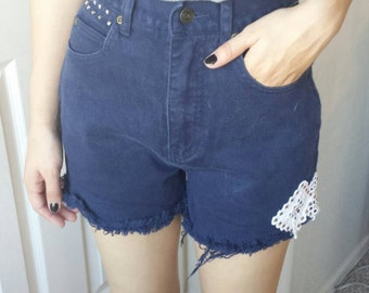 Dark denim high waist shorts studded and lace embellished