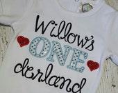 """Baby Girls 1st  """"ONE""""derland Birthday shirt"""