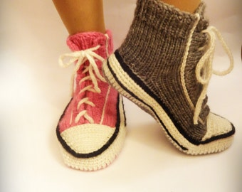 Pink Knitted Converse, Knitted Slippers, Woman Converse Slippers, Crochet  Sneakers, Knitted Sneakers, Converse Slippers, Crochet Converse