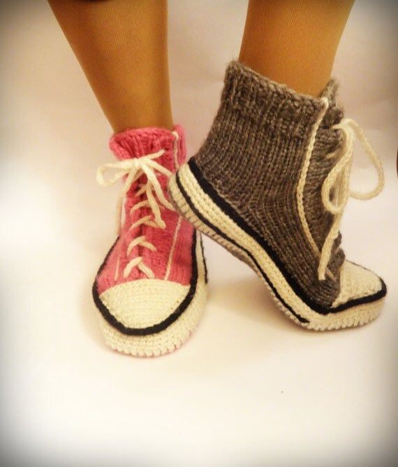 Knitting Patterns For Converse Socks : Pink Knitted Converse Knitted Slippers Woman by CrazyButterflies