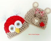 OWL AND TEDDY Hats, Christmas crochet pattern, Christmas Duo Pattern By KerryJayneDesigns, 8 sizes - Newborn - Adult Instant download Pdf Uk