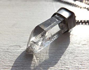 raw crystal necklace men silver, big quartz crystal necklace, big mens necklace, rough quartz crystal necklace, wedding anniversary gift