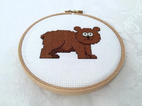 Knitting Room Fond Du Lac : Bear embroidery pdf pattern cross stitch forest