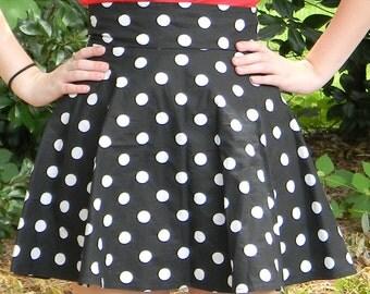 High Waist Polka Dot Circle Skirt (Custom Size and Color)