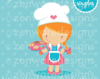 Red Haired Chef Girl Clipart