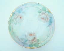 Prussia B Royal Rudolstadt Hand Painted Pastel White And Pink Rose Plate, Trimmed In Gold