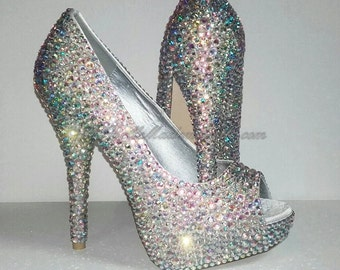 Crystal Peep Toe Shoe's, Crystal Bridal Shoes, Crystal Wedding Shoes, Strass Wedding Shoes, Strass Bridal Shoes