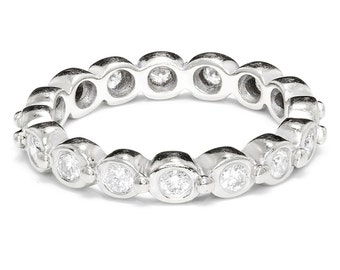 Round Diamond Bezel Set Eternity Ring Wedding Band 14K White Gold Sz 7.25 0.90ctw