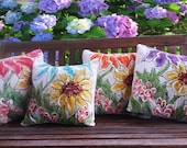 New! Spring Pillows, Indoor/Outdoor Accent Pillows, Decorative Pillows, Colorful, Sunflower, Hand-painted, Pillow Covers, Set