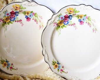 FLORAL Homer Laughlin Plates Set of Two Virginia Rose Pattern