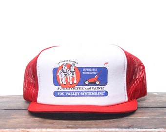 Vintage Superstriper Paint Striper Dependable Workhorse Line Marker Trucker Hat Snapback Baseball Cap