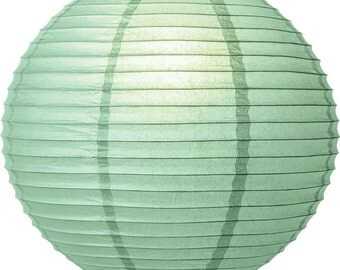 Five Mint Green Paper Lanterns - 8 inch, 10 inch, 12 inch 14 inch or 16 inch