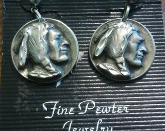 Southwest pewter Indian head earrings that are hypo allergenic.