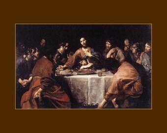 """Valentin de Boulogne, Last Supper  1625,  11 X 14""""  canvas art print, religious, christian"""