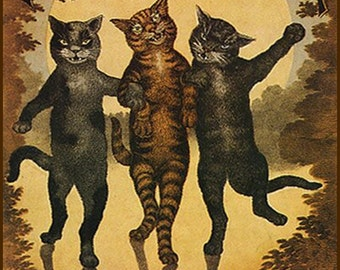 "Black, brown, and tabby kittens polka dance to BUCALOSSI. 11 X 14""  canvas art print"