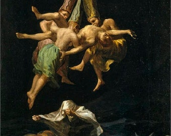 "Witches Flight by Francisco Goya, 1798, 8x10"" premium poster paper art print. Black art, goth art, vintage art"