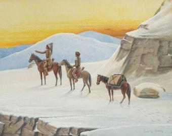 """winter-trail. Cassilly Adams (1843 – 1921)  Native Americans western Old West, 8x10"""" premium poster paper art print"""