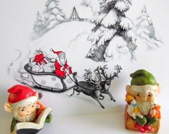Pair of vintage Homco Santa's elves, gnomes, made in Taiwan