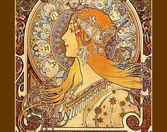 Alphonse Mucha-Zodiac calendar 1896, art nouveau, antique art print, 1890s art, Mucha paintings, Alphonse Mucha art, art deco era, nouveau