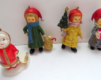 "Vintage plastic Christmas ornaments.  Kids, children, retro.  Set of 4. 3 1/4"". Very good"