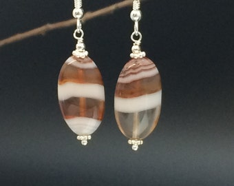 Banded Agate Earrings, Brown Agate Earrings, Genuine Stone Earrings, Brown Stone Earrings, Sterling Silver Earrings, Earrings Under 25