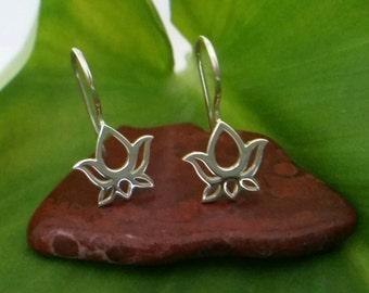 Lotus Flower Earrings, Sterling Silver Lotus Flower Earring Parts, Diy Jewelry Making,Earring Findings, Lotus Flower Jewelry, Earring Tops