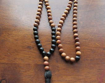 108 Bead Mala, Matte Black Onyx and Sandalwood, Long Necklace, Wood Necklace Mens Jewelry, Tassel Necklace, Meditation Beads, Yoga Jewelry