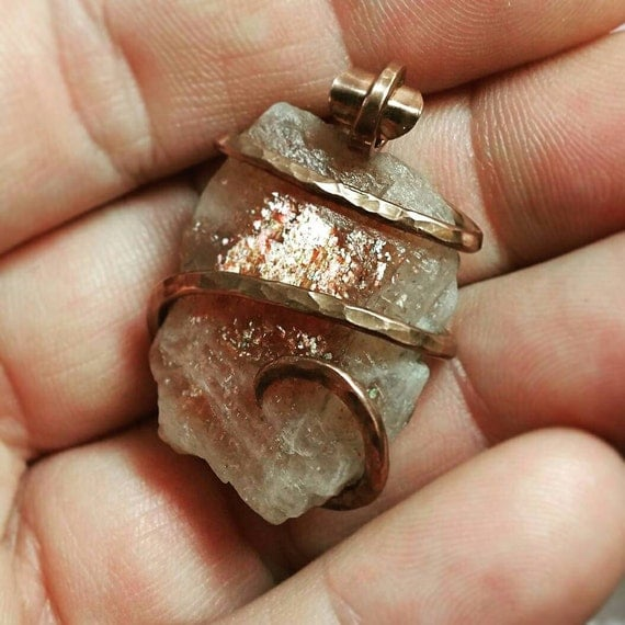 Raw Crystal Pendant | Sunstone Necklace | Hammered Copper Pendant | Copper Necklace | Indian Sunstone Pendant | Simple Stone Pendant