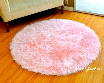 Pink Nursery Rug Baby Pink Luxury Faux Fur Throw Area Rug Round Shape  Modern Luxurious Fake