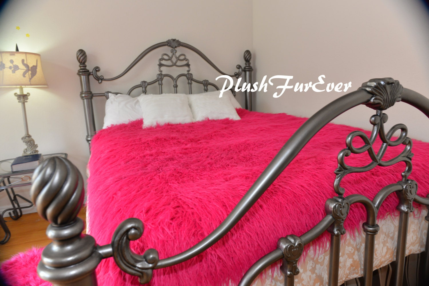 Fuchsia Hot Pink Mongolian Furs Luxurious Shaggy Bedding