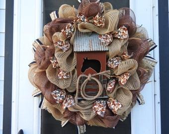 Horse Love Rustic - Burlap Deco Mesh Wreath