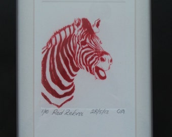 Limited edition etching, red zebra