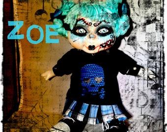 Zoe-OOAK Goth Creepy Horror Punk Art Doll Zombie Macabre